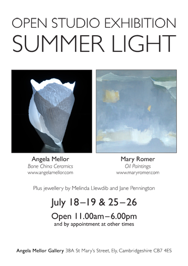 Angela Mellor's Studio will be Open July 18-19 and 25-26